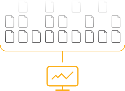Diagram showing computer with many contract icons