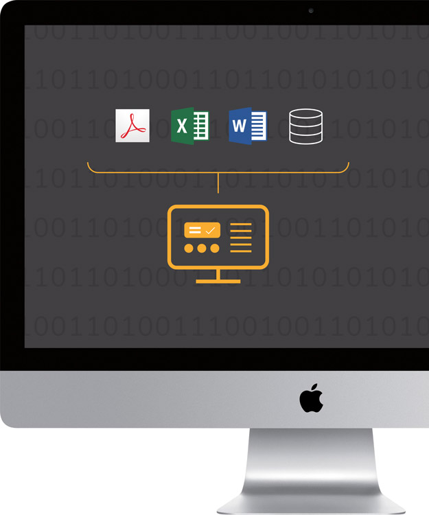 Image of a computer with icons representing combining data in one visualisation