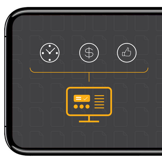 Image of a mobile phone with icons representing GDPR value